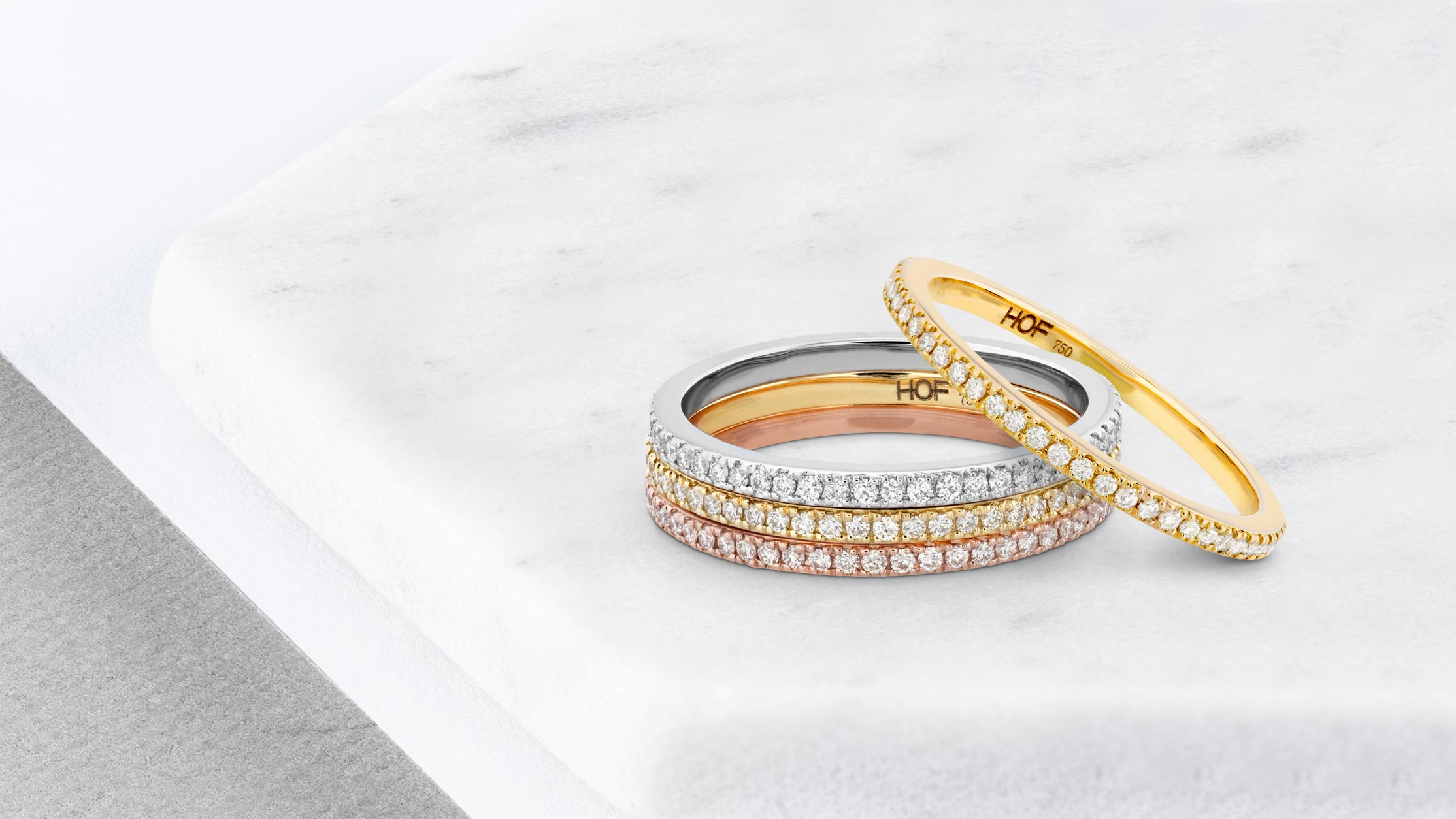 Stacked diamond eternity bands in mixed metals