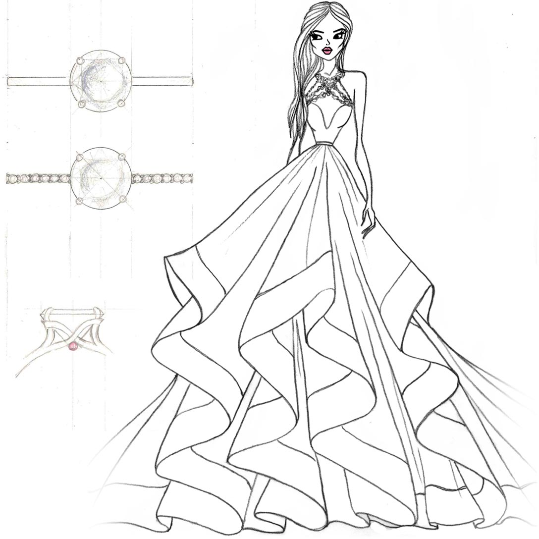 Hayley Paige Sloane Dress and Ring Sketch