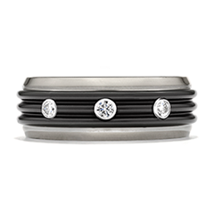 Commanding Black Titanium Tri-Dome Bevel Band