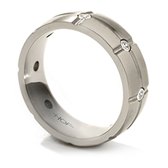 Commanding Grey Titanium Dome Grid Band