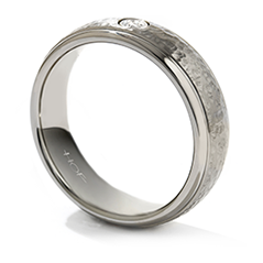 Commanding Grey Titanium Hammered Dome Step Band