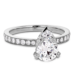 Desire Teardrop Shape Engagement Ring - Diamond Band