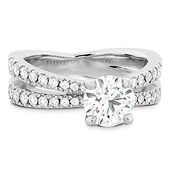 Destiny Split Shank Engagement Ring - Diamond Band