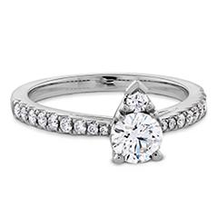 Destiny Teardrop Shape Engagement Ring - Diamond Band