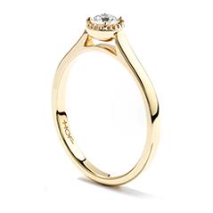 Diamond Bar Beaded Gallery Ring