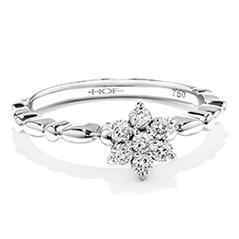 Diamond Bar Flower Stackable Ring