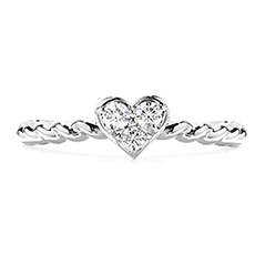Diamond Bar Heart Stackable Ring