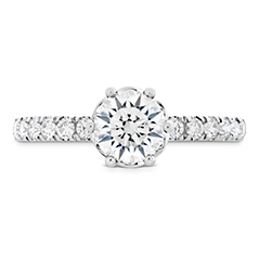 HOF Signature Bezel Basket Engagement Ring - Dia Band .