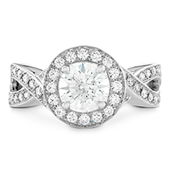 Illustrious Halo Twist Diamond Engagement Ring