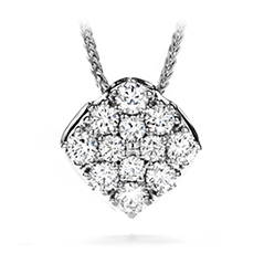 Silk Pave Diamond Shape Pendant Necklace