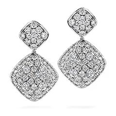 silk pave double diamond shape drop earrings