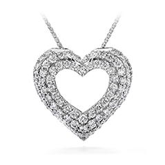 Silk Pave Heart Pendant Necklace