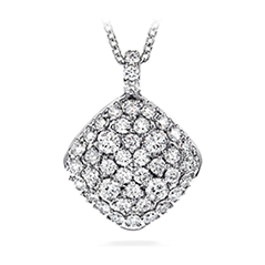 Silk Pave Large Diamond Shape Pendant Necklace