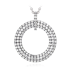 Silk Pave Open Circle Pendant Necklace