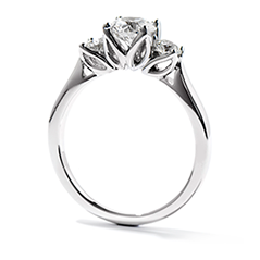 Simply Bridal Leaf Three-Stone Engagement Ring