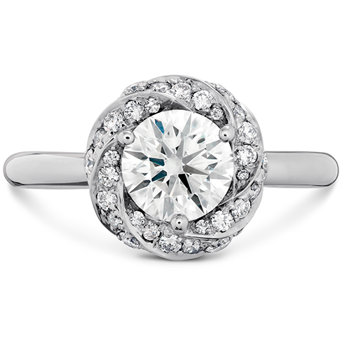 Atlantico Wave Diamond Halo Engagement Ring