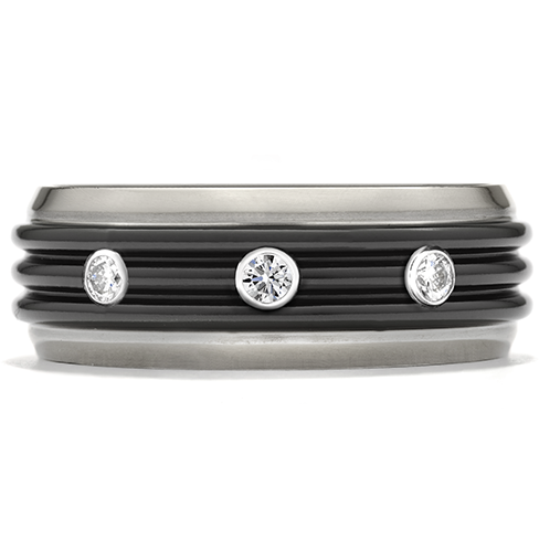 Commanding Black Titanium Tri Dome Bevel Band