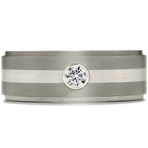 Commanding Grey Titanium Diamond Inlay Step Band