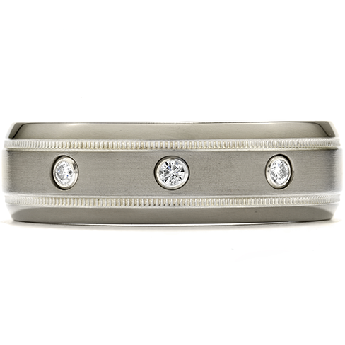 Commanding Grey Titanium Milgrain Inlay Dome Band