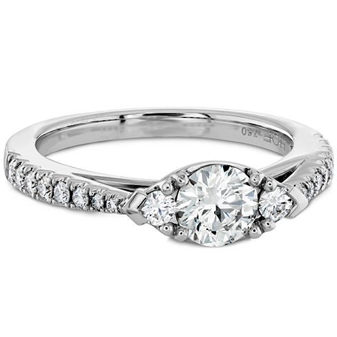 Destiny Horizontal Regal Engagement Ring - Diamond Band