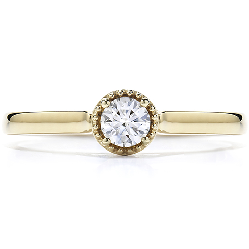 Diamond Bar Beaded Gallery Ring