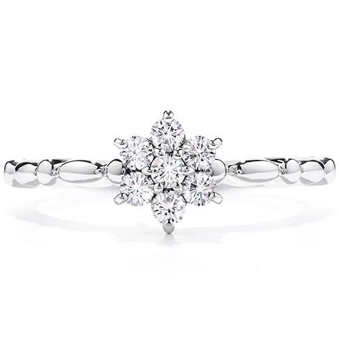 Diamond Bar Flower Stackable Ring