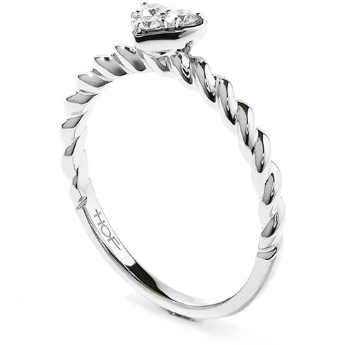 Diamond Bar Heart Stackable Ring