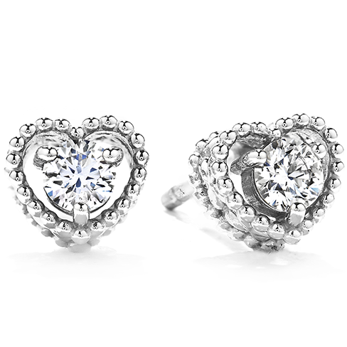 Petite Beaded Heart Stud Earrings