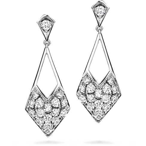 Silk Pave Diamond Shape Drop Earrings
