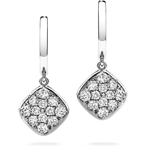 Silk Pave Diamond Shape Leverback Earrings