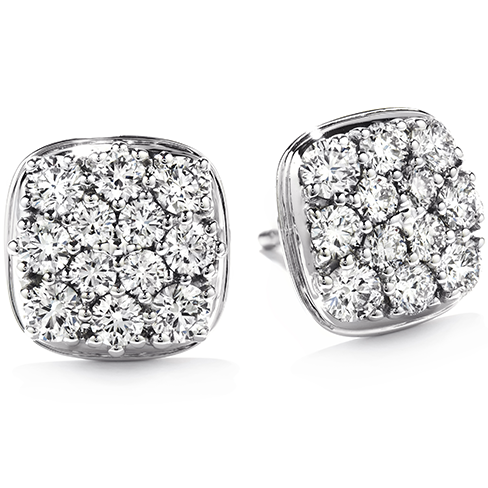 Silk Pave Diamond Shape Stud Earrings