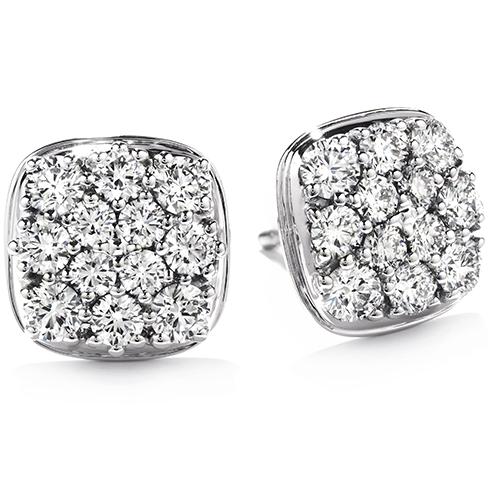Silk Pave Diamond Shape Stud Earrings