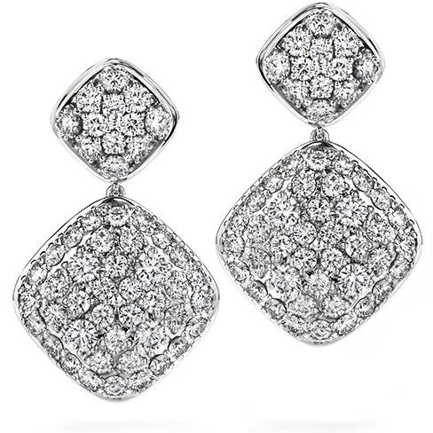 Silk Pave Double Diamond Shape Drop Earrings