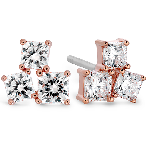 Sweet Dream Three Stone Stud Earrings