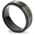 Commanding Black Titanium Multi-Groove Bevel Band view 2