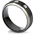 Commanding Black Titanium Tri-Dome Bevel Band view 2
