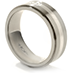 Commanding Grey Titanium Diamond Inlay Step Band view 2