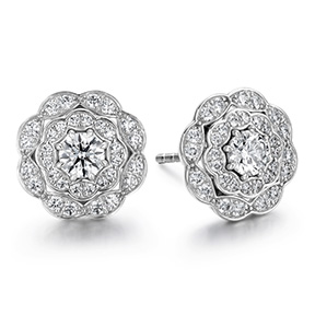 Lorelei Double Halo Diamond Stud Earrings