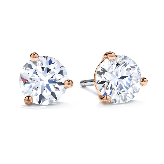 1 ctw. Three-Prong Stud Earrings in 18K Rose Gold