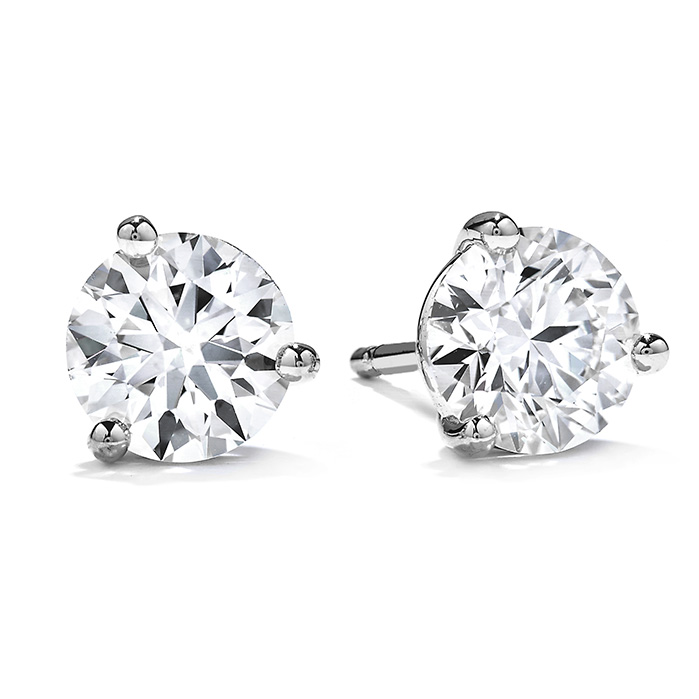 2.5 ctw. Three-Prong Stud Earrings in Platinum