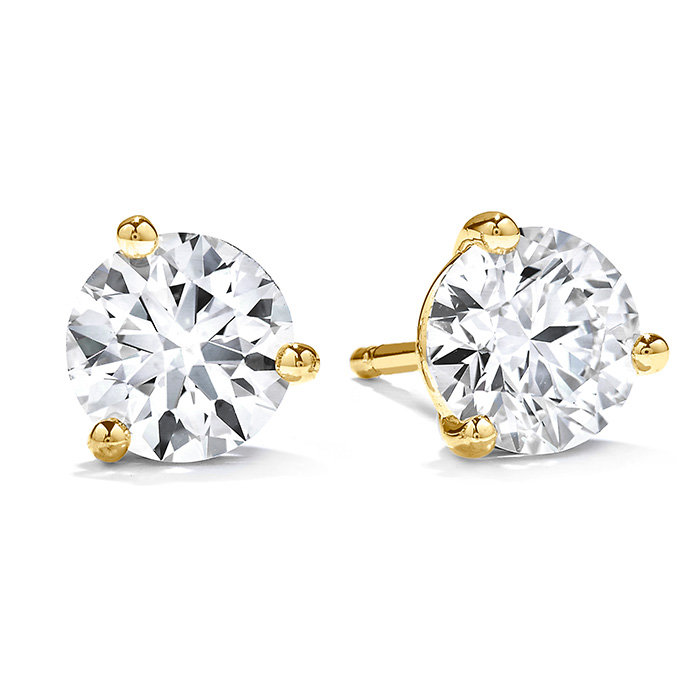 0.33 ctw. Three-Prong Stud Earrings in 18K Yellow Gold