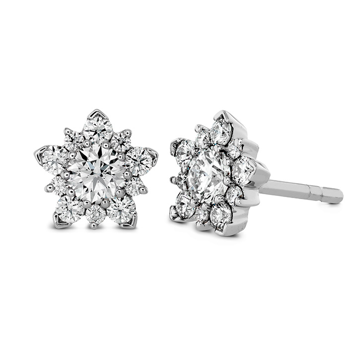 1.25 ctw. Aerial Cluster Stud Earrings in 18K White Gold
