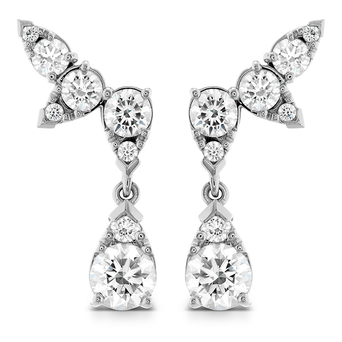 4.2 ctw. Aerial Diamond Drop Ear Vine Earrings in 18K White Gold