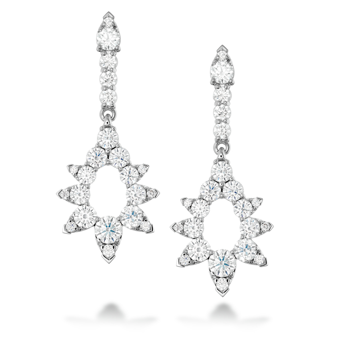 5.25 ctw. Aerial Pointed Diamond Drop Earrings in 18K White Gold