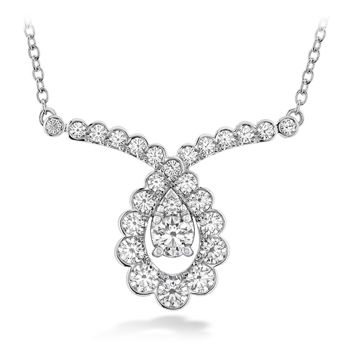 0.8 ctw. Aerial Regal Scroll Drop Necklace in 18K White Gold