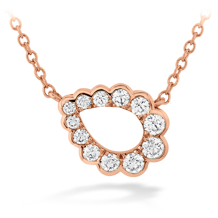 0.3 ctw. Aerial Regal Scroll Teardrop Necklace in 18K Rose Gold