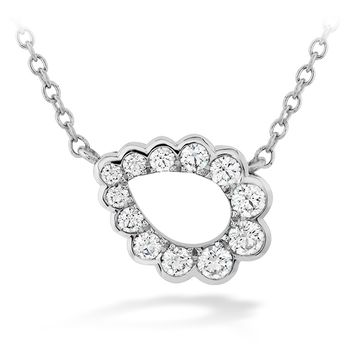 0.3 ctw. Aerial Regal Scroll Teardrop Necklace in 18K White Gold