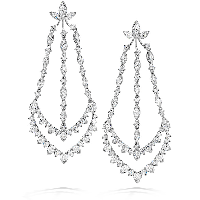 12.9 ctw. Aerial Triple Diamond Chandelier Earrings in 18K White Gold