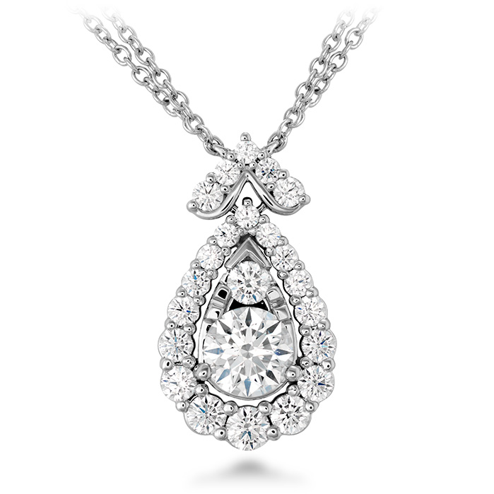 1.55 ctw. Aerial Victorian Halo Drop Necklace in 18K White Gold