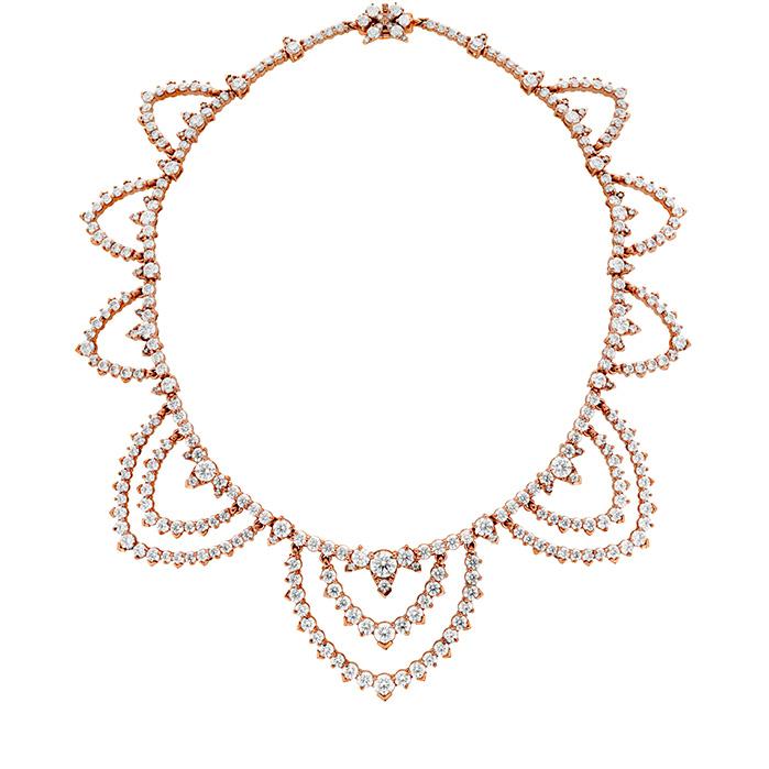 40.95 ctw. Aerial Diamond Collar in 18K Rose Gold